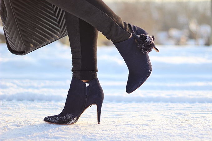Winter Style Staples | Leather High Heel Ankle Boots with Pompoms // JustineCelina.com