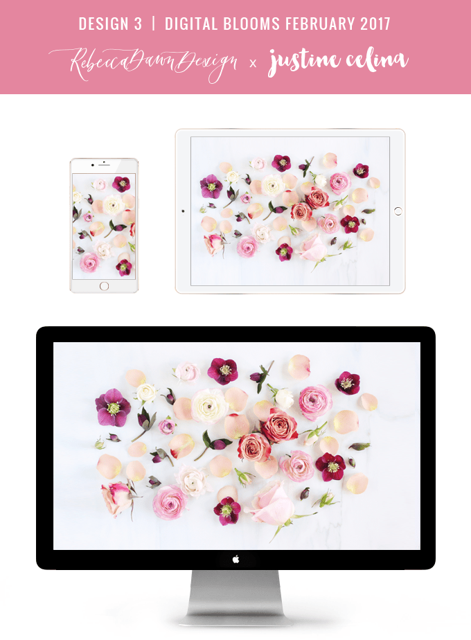 DIGITAL BLOOMS FEBRUARY 2017 | Free Desktop Wallpapers + Choosing to Spread Love | Design 3 // JustineCelina.com x Rebecca Dawn Design