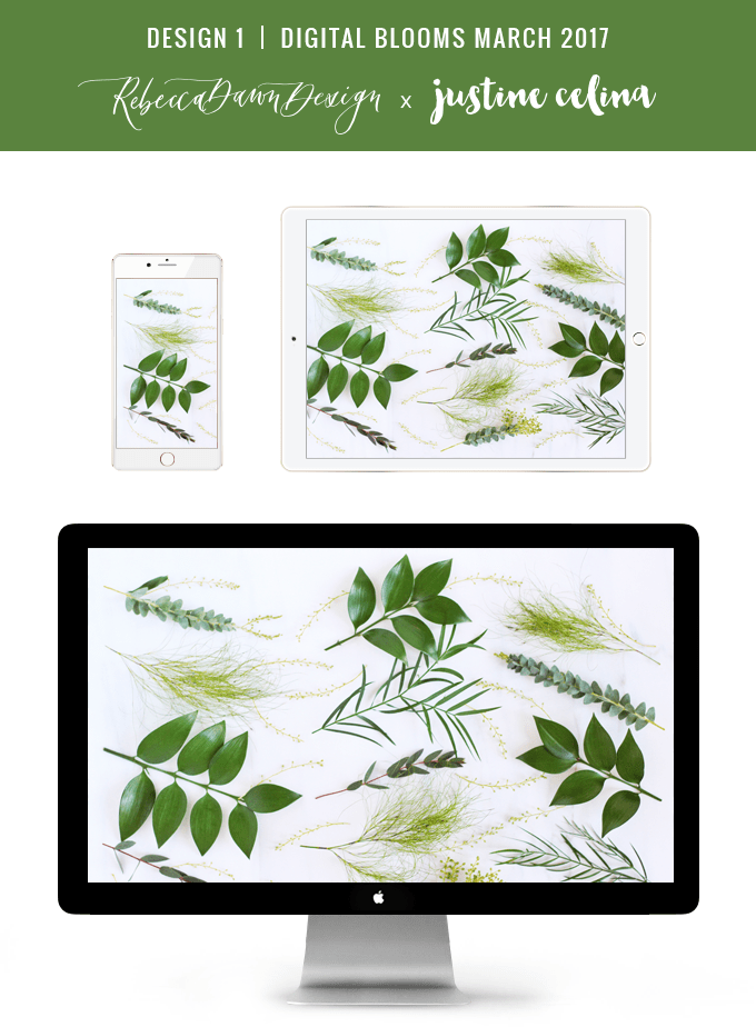 DIGITAL BLOOMS FEBRUARY 2017 | Free Desktop Wallpapers Inspired by Pantone's 2017 Colour of the Year, Greenery | Design 1 // JustineCelina.com x Rebecca Dawn Design