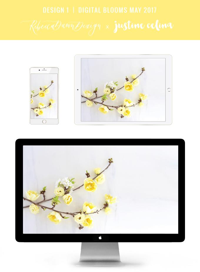 Digital Blooms May 2017 | Free Desktop Wallpapers | Design 1 // JustineCelina.com x Rebecca Dawn Design