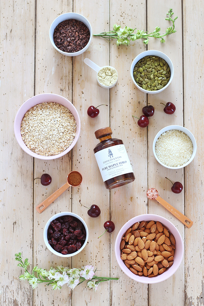 Protein Packed Cherry Almond Granola Ingredients // JustineCelina.com