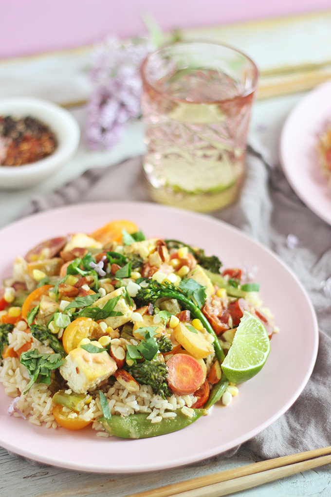 Spring Vegetable Stirfry with Coconut Ginger Tofu (Wild Rose D-Tox Friendly!) // JustineCelina.com #sponsored