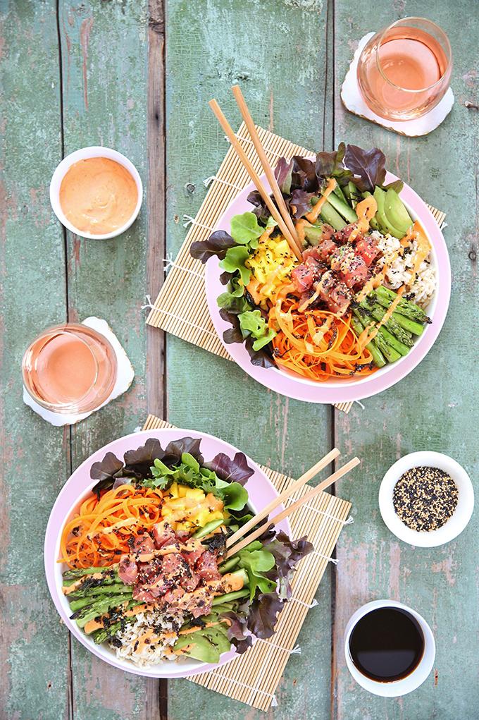 Ahi Tuna Poke Bowl with Citrus Ponzu & Sriracha Aioli   #sponsored by Inspired Greens #dairyfree #glutenfree #sustainable // JustineCelina.com