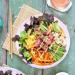Ahi Tuna Poke Bowl with Citrus Ponzu & Siracha Aioli   #sponsored by @inspiredleafygreens #dairyfree #glutenfree #sustainable // JustineCelina.com