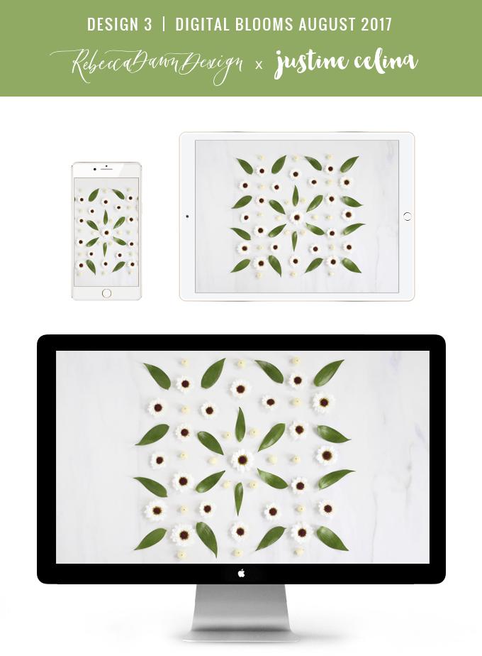 Digital Blooms August 2017   Free Desktop Wallpapers   Design 3 // JustineCelina.com x Rebecca Dawn Design
