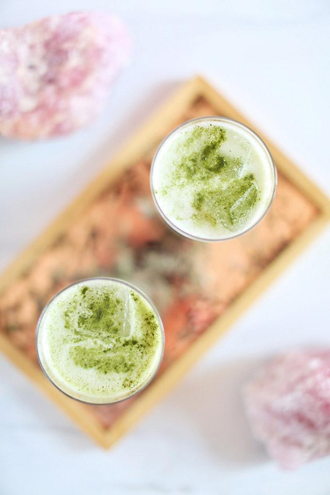 Iced Coconut Ginger Matcha Lattes | #Sponsored by Kiwami Greens // JustineCelina.com #vegan #glutenfree #refinedsugarfree