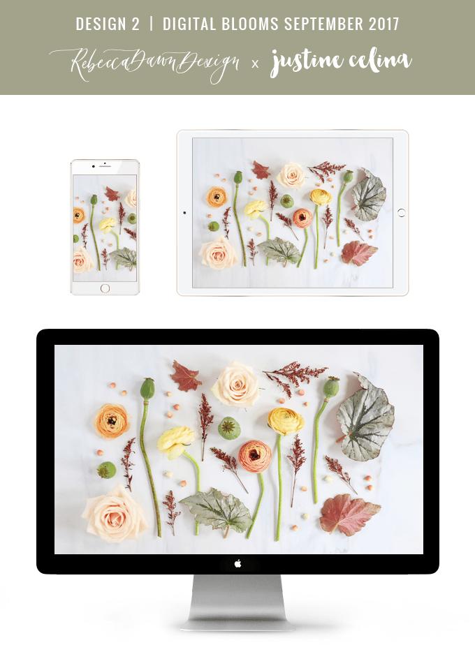 Digital Blooms September 2017   Free Desktop Wallpapers   Design 2 // JustineCelina.com x Rebecca Dawn Design
