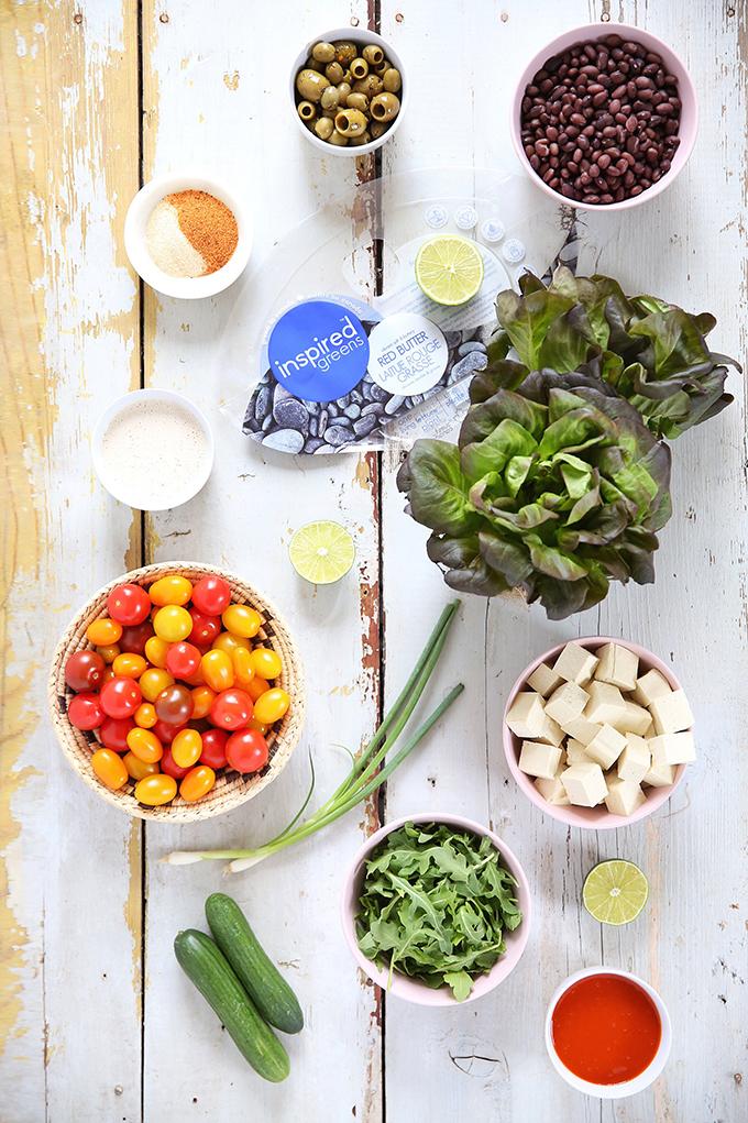 #Vegan Fiesta Buffalo Tofu Bowls with Tahini Lime Crema | #sponsored by Inspired Greens // JustineCelina.com