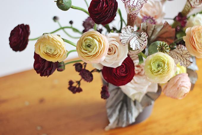Bringing Autumn Flowers Into Your Home   A Moody, Autumn Arrangement including Ranunculus, // JustineCelina.com + Rebecca Dawn Design