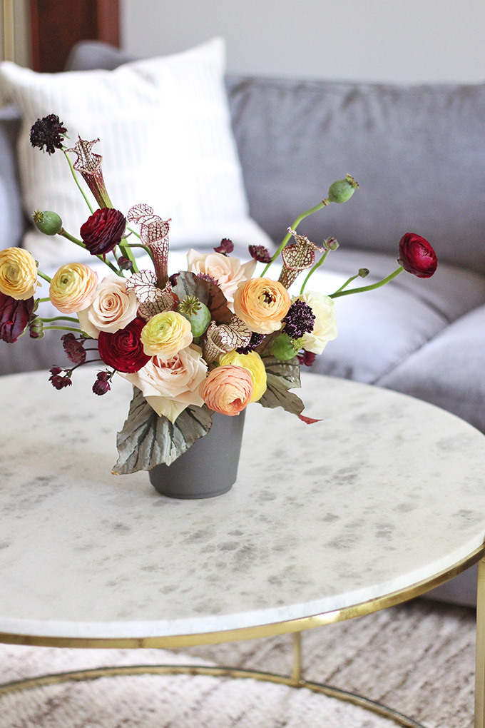 Bringing Autumn Flowers Into Your Home // JustineCelina.com + Rebecca Dawn Design