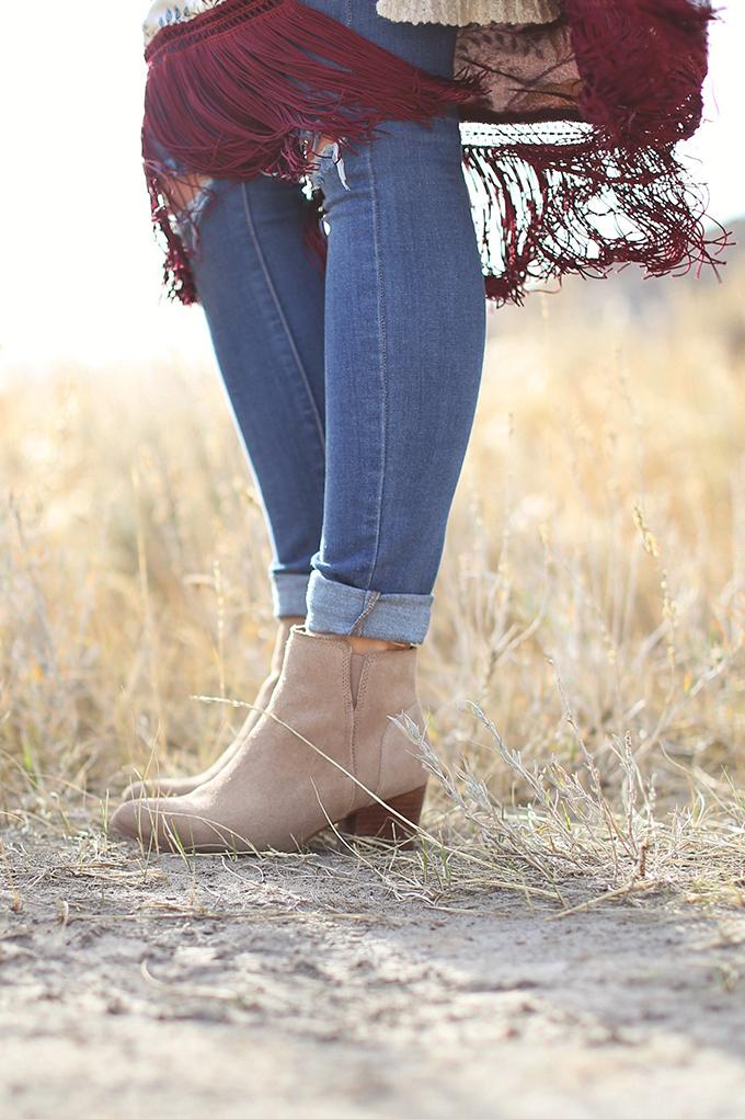 How to Style   Kimonos for Autumn   Aldo Larissa Boots in Bone Suede // JustineCelina.com