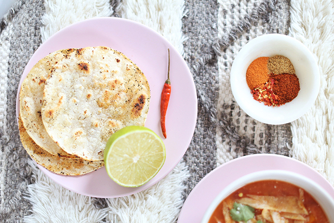 Vegan Slow Cooker Tortilla Soup with Winter Squash   Toasted Corn Tortillas // JustineCelina.com