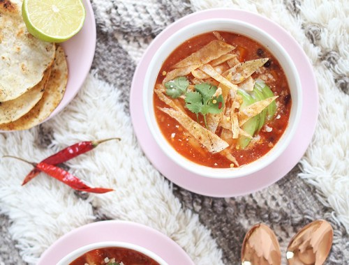 Vegan Slow Cooker Tortilla Soup with Winter Squash | Toasted Corn Tortillas // JustineCelina.com