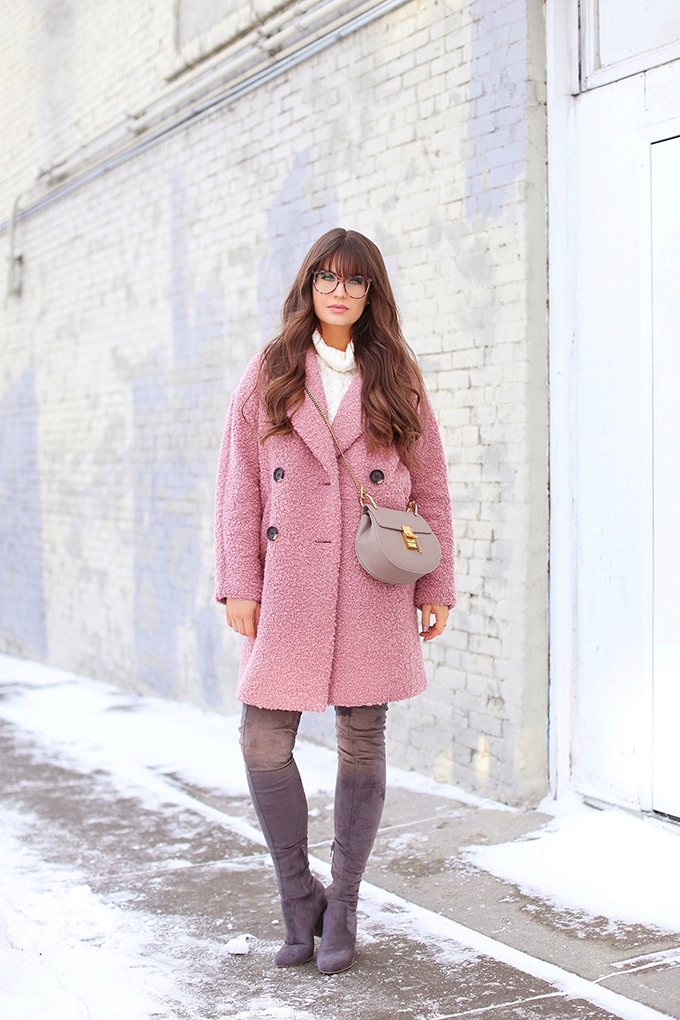 Blush Crush | How to Style Millennial Pink & Blush Hues | Winter / Spring 2018 | Best Chloe Drew Bag Dupes for Under $50 | Topshop Alicia Boucle Wool Blend Coat Pink // JustineCelina.com