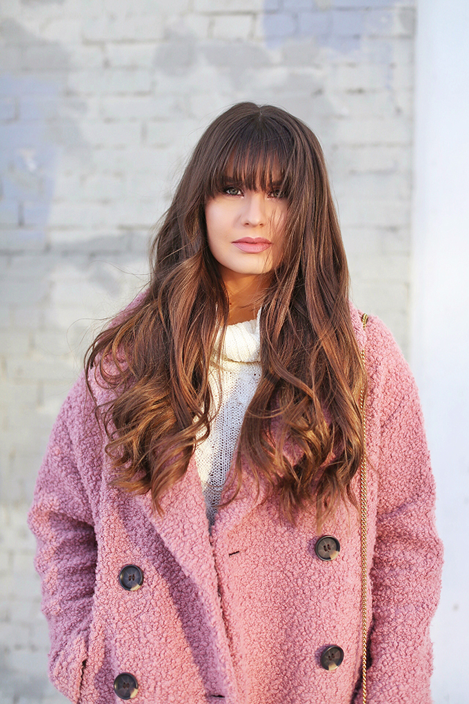 Blush Crush   How to Style Millennial Pink & Blush Hues   Winter / Spring 2018   Topshop Alicia Boucle Wool Blend Coat Pink   NARS Velvet Lip Glide in Unlaced // JustineCelina.com