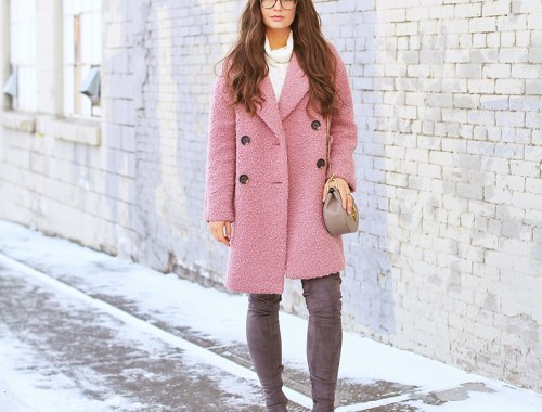 Blush Crush | How to Style Millennial Pink & Blush Hues | Winter / Spring 2018 | Topshop Alica Boucle Wool Blend Coat Pink // JustineCelina.com