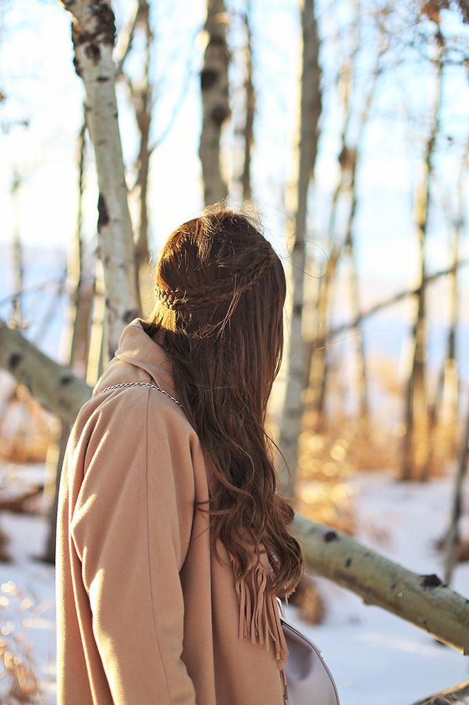 How to Style | Midi Dresses for Winter 2018 | Boho Braided Hairstyle | Calgary Fashion Blogger, Wheatland County, Alberta Badlands // JustineCelina.com