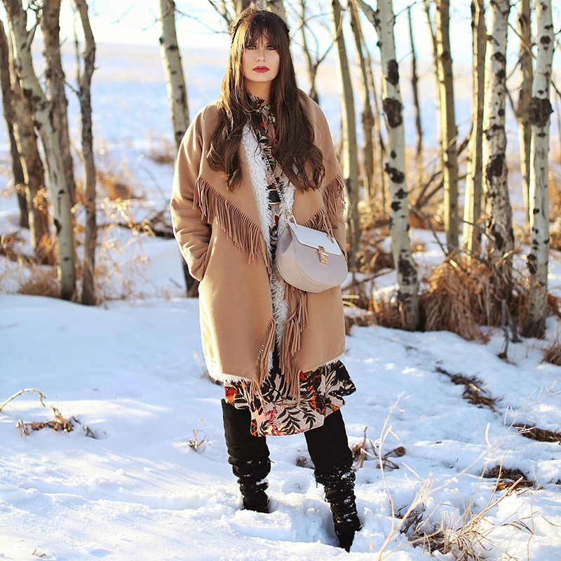 How to Style | Midi Dresses for Winter 2018 | Best Chloe Drew Bag Dupes | Calgary Fashion Blogger, Wheatland County, Alberta Badlands // JustineCelina.com