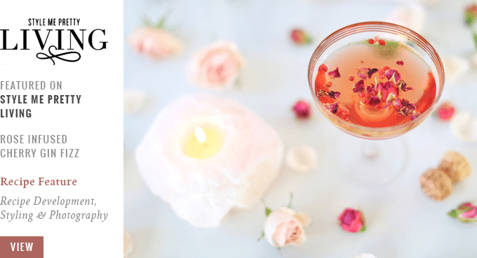 JustineCelina Rose Infused Cherry Gin Fizz Featured on Style Me Pretty Living // JustineCelina.com