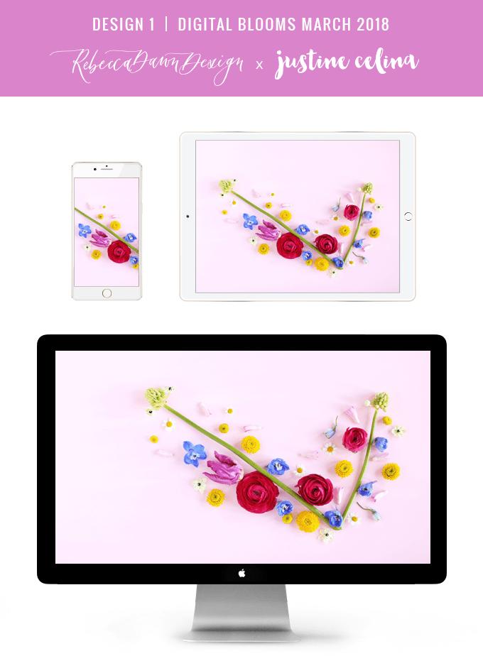 Digital Blooms March 2018 | Free Pantone Inspired Desktop Wallpapers for Spring | Design 1 // JustineCelina.com x Rebecca Dawn Design