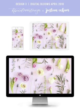 Digital Blooms April 2018 | Free Pantone Inspired Desktop Wallpapers for Spring | Free Lavender Floral Tech Wallpapers | Design 3 // JustineCelina.com x Rebecca Dawn Design