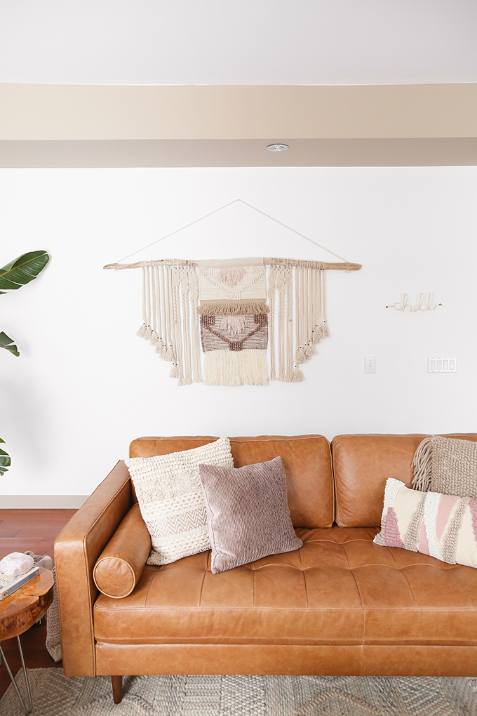 Our Living Room Furniture + $250 Structube #Giveaway | Structube KINSEY 100% Leather Sofa in Caramel | A Bohemian, Mid Century Modern Apartment in Calgary, Alberta, Canada | Justine Celina Maguire Living Room // JustineCelina.com