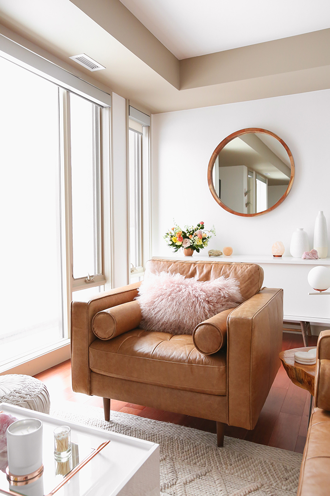 Our Living Room Furniture + $250 Structube #Giveaway | Structube KINSEY 100% Leather Armchair in Caramel | A Bohemian, Mid Century Modern Apartment in Calgary, Alberta, Canada | Justine Celina Maguire Living Room // JustineCelina.com