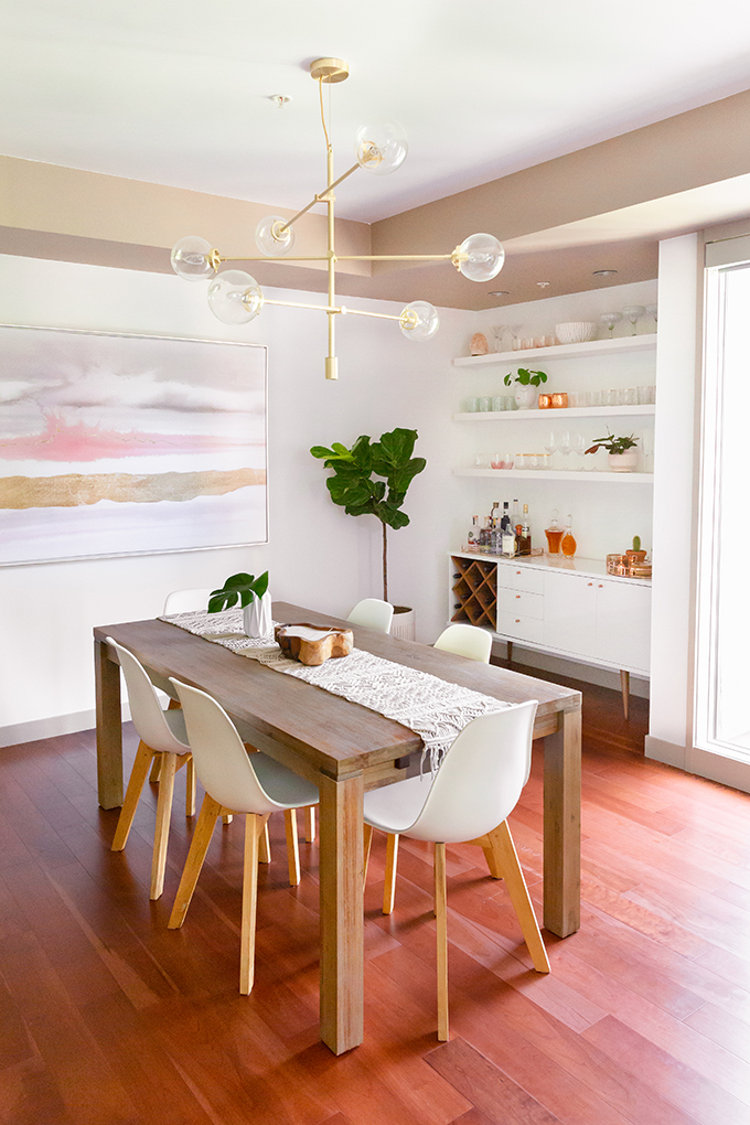 Dining Room / Bar / Kitchen Reveal in Partnership with HomeSense Canada | A Bohemian, Mid Century Modern Apartment in Calgary, Alberta, Canada // JustineCelina.com
