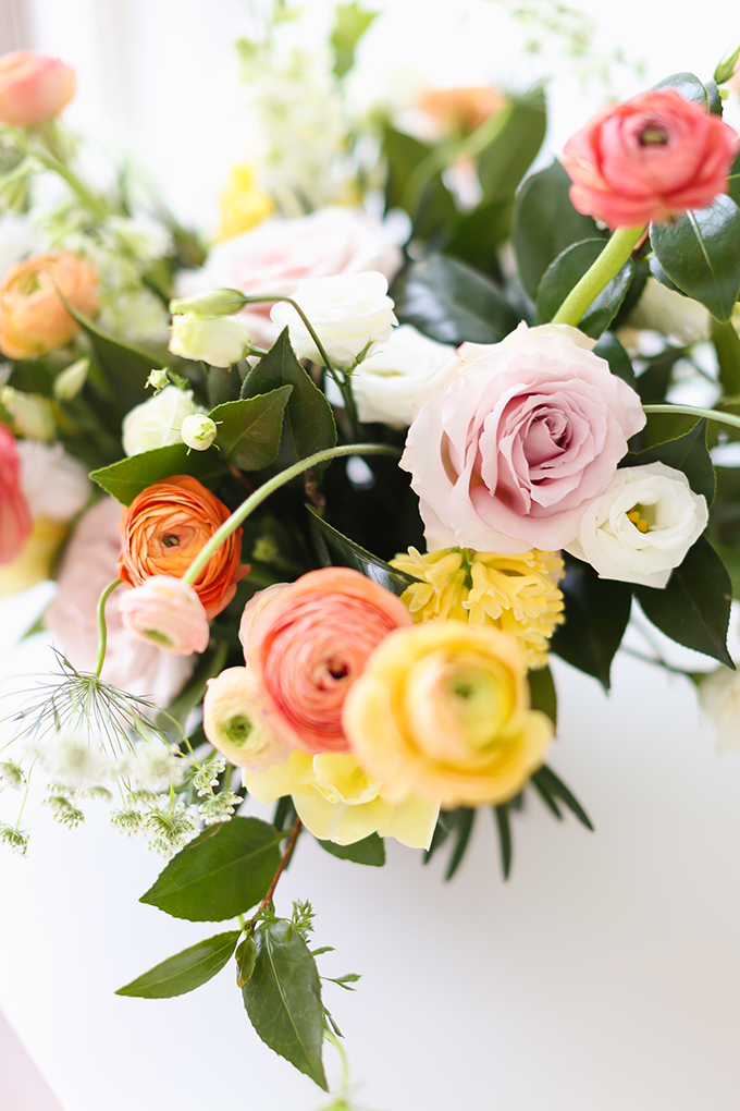 My 3rd Blogiversary + 10 Things I Learned in my Third Year of Blogging | Cheerful Spring Flowers: Ranunculus, Tulips, Queen Anne's Lace and Quicksand Roses | A Pantone Spring 2018 Inspired Birthday Celebration // JustineCelina.com