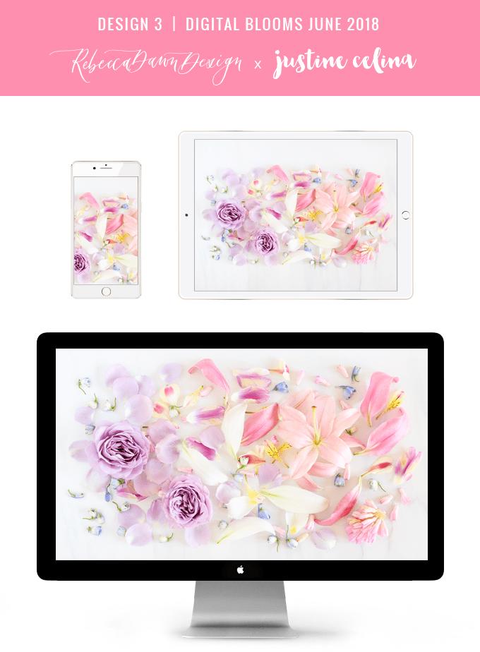 Digital Blooms June 2018   Free Pantone Inspired Desktop Wallpapers for Spring and Summer   Free Pastel Tech Wallpapers   Design 3 // JustineCelina.com x Rebecca Dawn Design