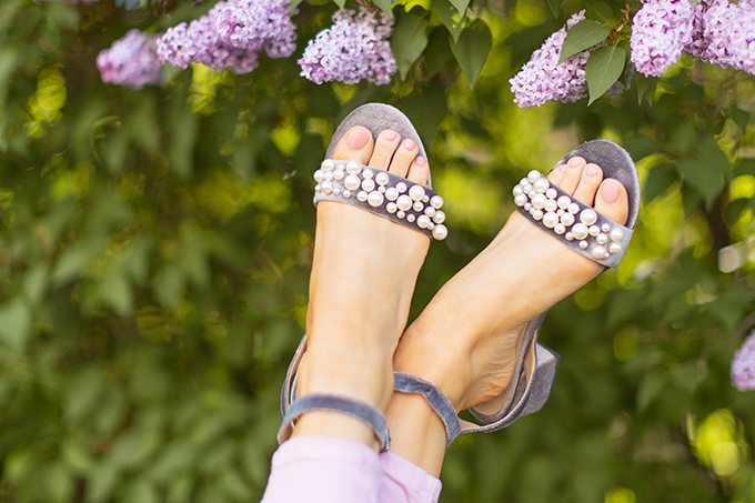 Spring 2018 Trend Guide | Lavender Love | Pearl Strap Sandals with a Low, Block Heel | Calgary, Alberta Fashion Blogger // JustineCelina.com