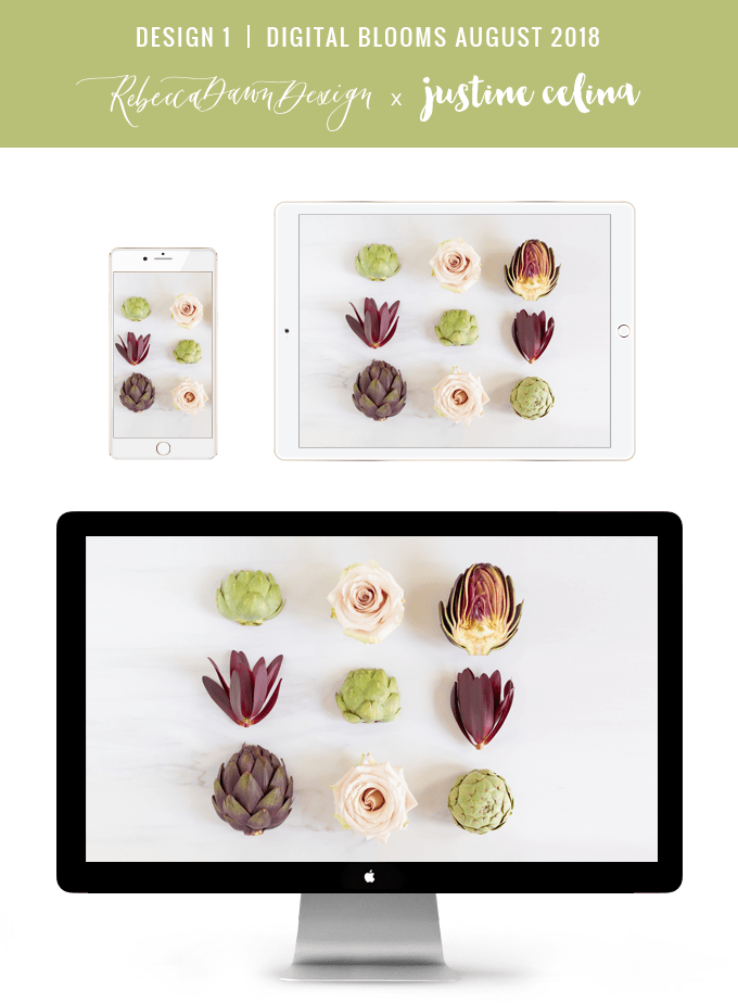 Digital Blooms August 2018 | Free Desktop Wallpapers for Spring and Summer with Artichokes, Rosemary, Berries and Quicksand Roses | Design 1 // JustineCelina.com x Rebecca Dawn Design