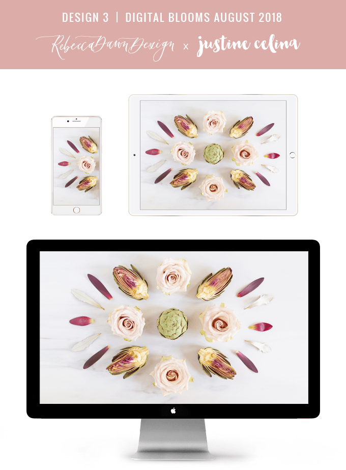 Digital Blooms August 2018 | Free Desktop Wallpapers for Spring and Summer with Artichokes, Rosemary, Berries and Quicksand Roses | Design 3 // JustineCelina.com x Rebecca Dawn Design