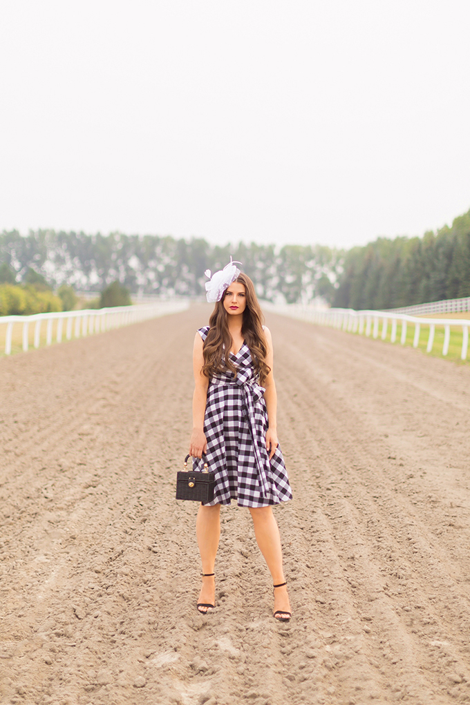 What to Wear to   A Horse Race // Horses in Alberta, Canada   Calvin Klein Gingham Wrap Dress  Calgary Fashion & Lifestyle Blogger // JustineCelina.com