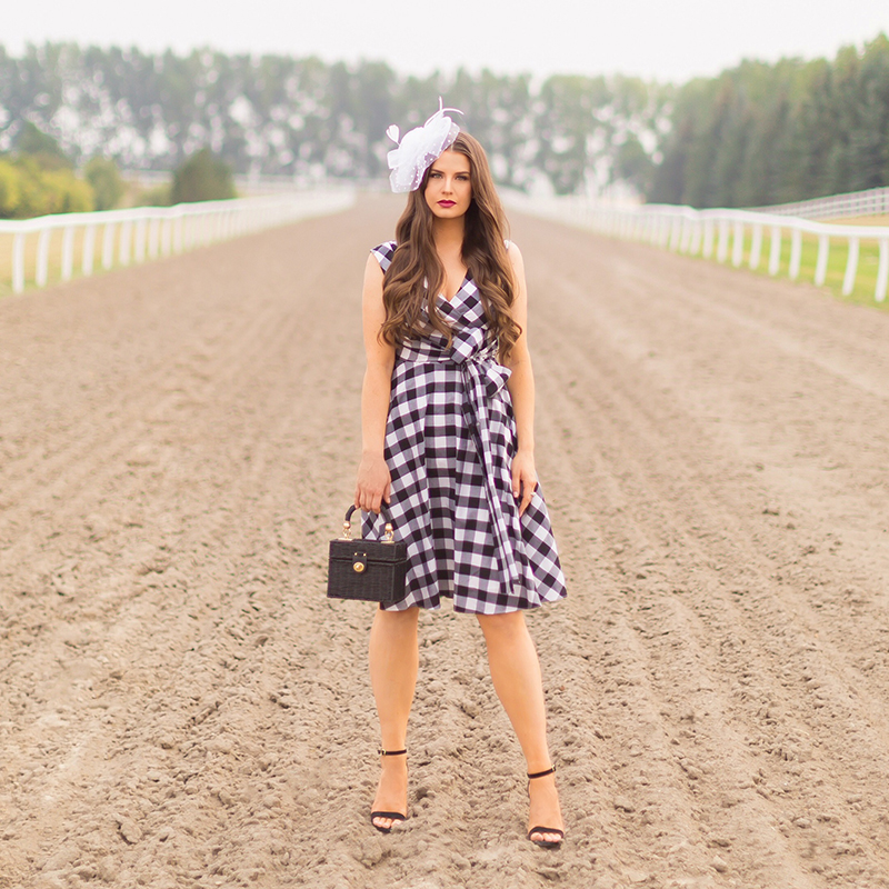 What to Wear to | A Horse Race // Horses in Alberta, Canada | Calvin Klein Gingham Wrap Dress |Calgary Fashion & Lifestyle Blogger // JustineCelina.com
