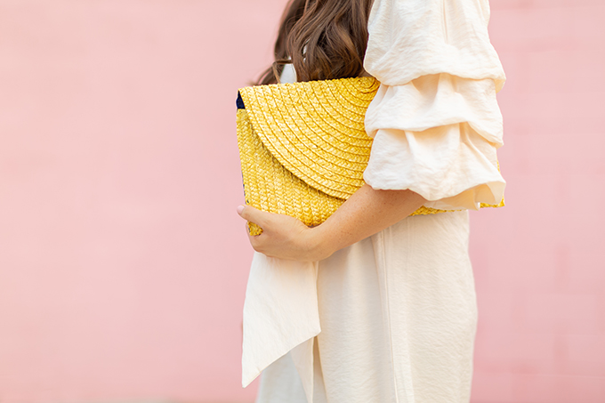 The Accessory Edit | Natural Material Bags | Yellow Straw Clutch | How to Style Oversized Straw Clutches | The Best Straw Bags 2018 // JustineCelina.com