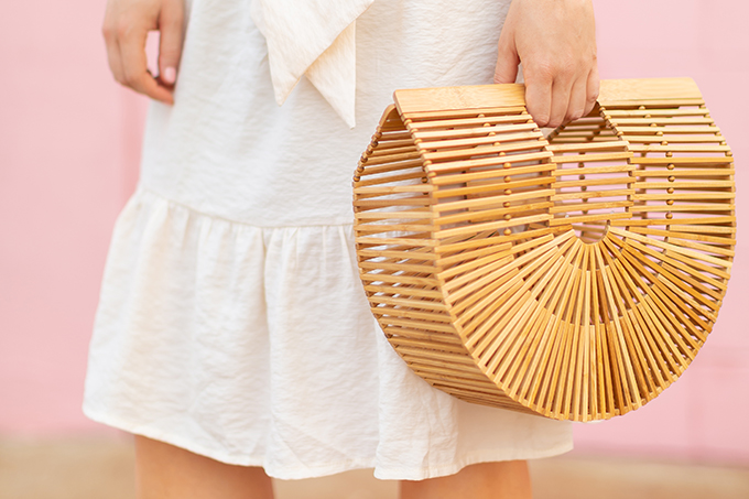 The Accessory Edit   Natural Material Bags   Cult Gaia Ark Large   How to Style Cult Gaia's Ark Bag   The Best Wood Bags 2018 // JustineCelina.com