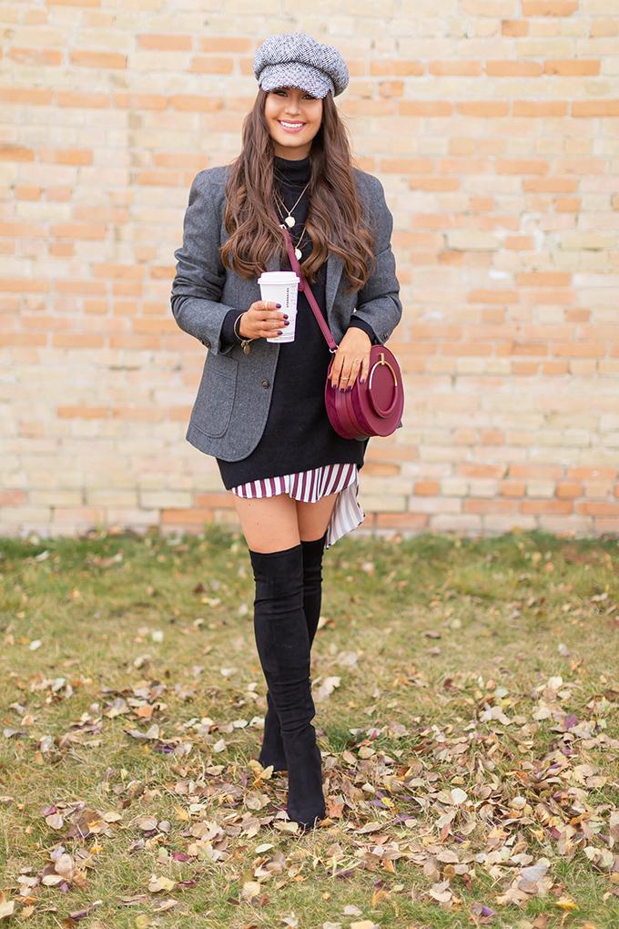 Autumn 2018 Lookbook | How to Style Boyfriend Blazer | Tweed Boyfriend Blazer with Black Sweater Dress and Baker Boy Hat | Autumn 2018 Trends | JustineCelina.com