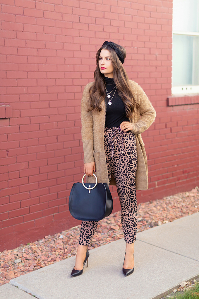 Autumn 2018 Lookbook | How to Style Leopard Print | Autumn 2018 Trends | Leopard Print Paper Bag Pants with Fuzzy Dex Cardigan and Turban Style Headband // JustineCelina.com