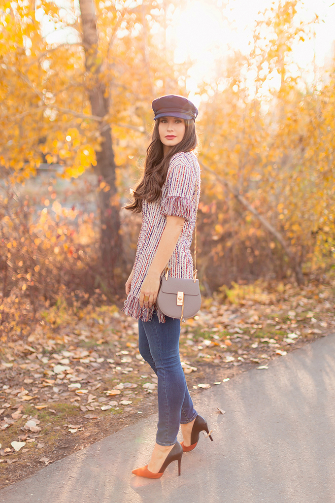 Autumn 2018 Lookbook | Fringe Top, Skinny Jeans and Baker Boy Hat | Grey Chloe Faye Dupe | Autumn 2018 Trends | JustineCelina.com