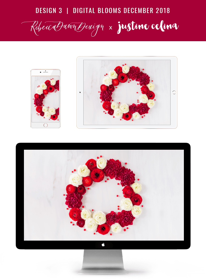Digital Blooms December 2018 | Free Holiday Floral Desktop Wallpapers | A Festive, Red Christmas Wreath made with Ranunculus, Chrysanthemums, Berries and Twigs | Pantone Fall / Winter 2018 Free Tech Wallpapers | Design 3 // JustineCelina.com x Rebecca Dawn Design