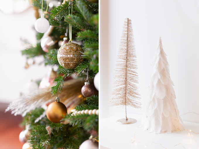 Apartment Friendly Modern Holiday Decor   Real Christmas Tree with Wood Garland, Metallic and Wood Ornaments and Pampas Grass   Premium Nova Scotia Balsam Fir Tree   Bohemian, Mid Century Modern Holiday Decor   Bohemian Holiday Home Tour 2018   Canadian Tire CANVAS Ornaments // JustineCelina.com