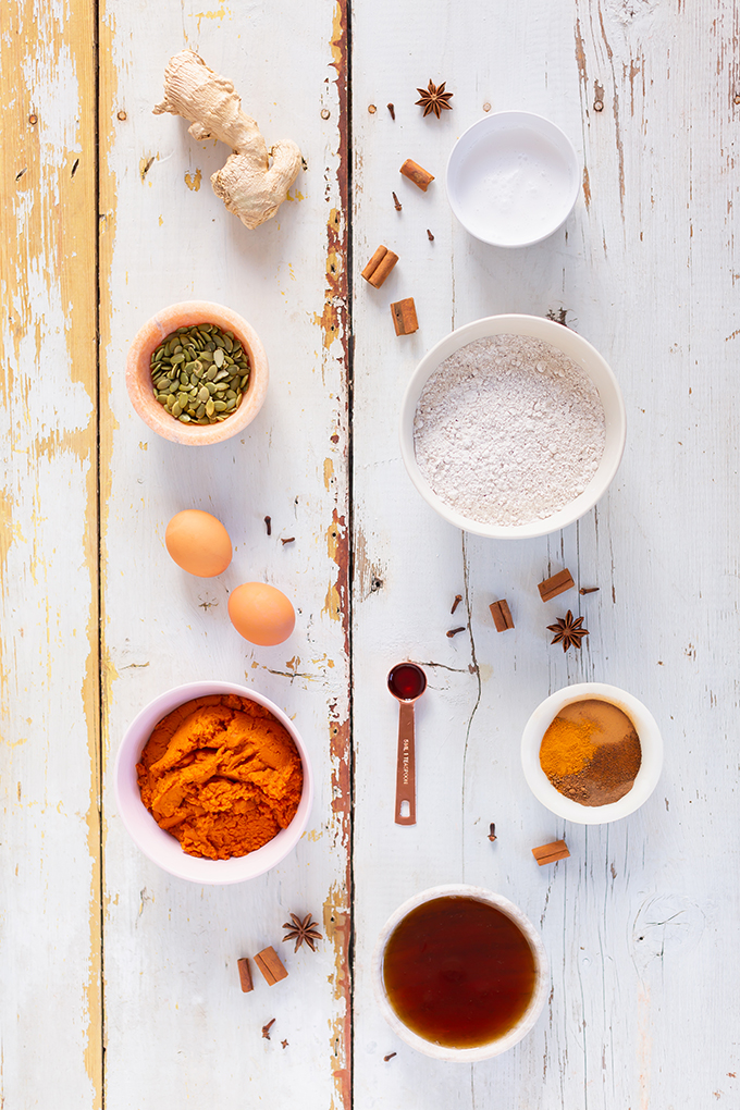 #GlutenFree #Pumpkin #Turmeric #Muffins | Healthy, Plant Based Pumpkin Muffins | Superfood Muffins | Healthy Turmeric Recipes | Vegetarian Muffins Recipes | The Best Gluten Free Muffins Recipe | Gluten Free Pumpkin Muffin Recipe Ingredients // JustineCelina.com