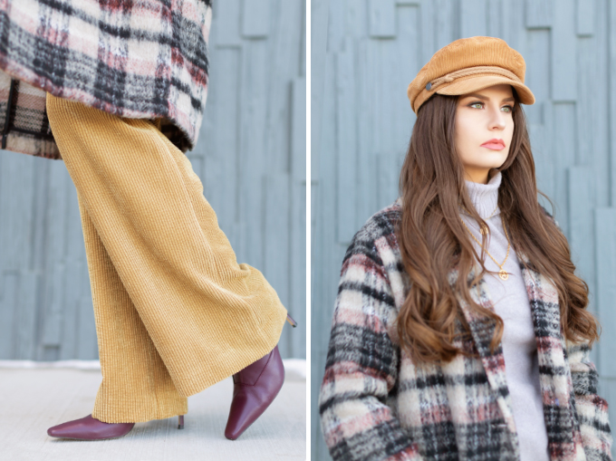 Winter 2019 Lookbook | Casual Corduroy: A cozy, business professional outfit | Topshop Checked Wool Coat with a Saks 5th Avenue Cashmere Tunic, Corduroy Pyjama Pants, Chocolate Sock Boots, a  croc-embossed crossbody bag and a camel corduroy baker boy hat | Stylish Winter 2019 Outfit Ideas | Cool Girl Winter Outfit Ideas // Calgary, Alberta, Canada Fashion & Lifestyle Blogger // JustineCelina.com