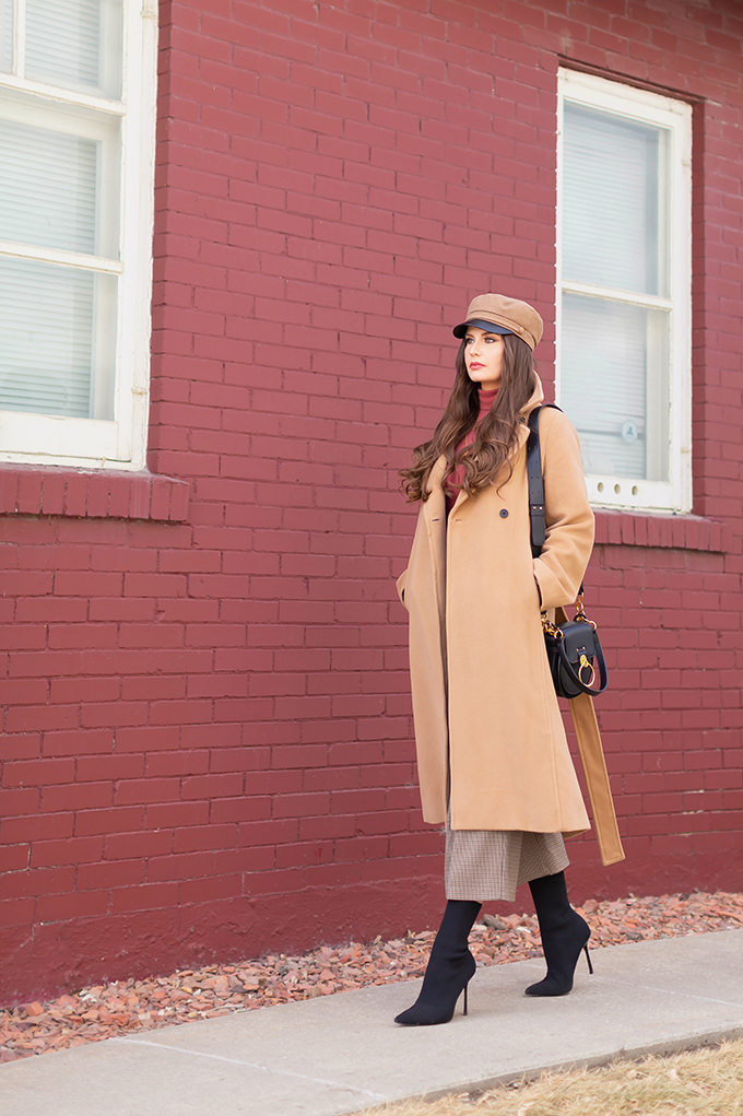 Winter 2019 Lookbook | Cozy Chic: My Go-To Polished Winter Outfit for Cold Weather | Aritzia Babaton Robbie Wool Coat Long styled with a Pantone Living Coral Turtle Neck, a Tweed and Leather TopShop Baker Boy Hat, Checked Culottes, Black Sock Boots, Artisan Anything Lara Leather Crossbody In Black (Amazing Chloe Tess Dupe!) and Layered Gold House of Vi Jewellery | Stylish Winter 2019 Outfit Ideas | Cool Girl Winter Outfit Ideas // Calgary, Alberta, Canada Fashion & Lifestyle Blogger // JustineCelina.com