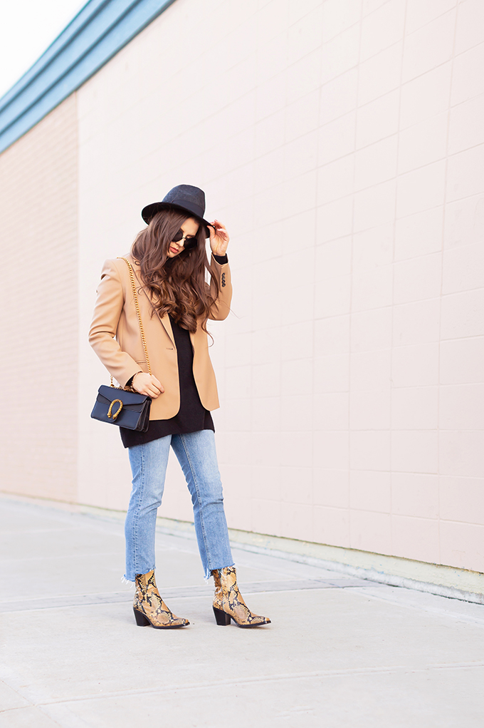 Winter 2019 Lookbook | Modern Wester: How to Style Snakeskin Ankle Boots for Winter | Western Snakeskin Ankle Boots Styled With Cropped, Stem Hem Jeans, An Oversized Black Sweater, A Tan Boyfriend Blazer, a Black, Wide Brim Hat and a Gucci Dionysus Small Shoulder Bag | Bohemian Winter Style Ideas | How to Wear the Western Trend for 2019 | Calgary, Alberta, Canada Fashion & Lifestyle Blogger // JustineCelina.com