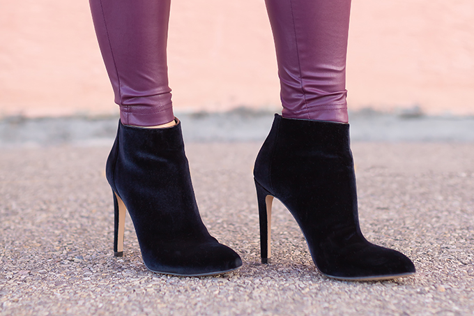 Raspberry Beret: My Favourite Warm, Comfortable Outfit Formula | Burgundy Joe Fresh Leather Leggings, Saks OFF 5TH Ava & Aiden Melyssa Velvet Ankle Boots | Stylish Winter 2019 Outfit Ideas | Valentine's Day Outfit Ideas for Cool Climates // Calgary, Alberta, Canada Fashion & Lifestyle Blogger // JustineCelina.com