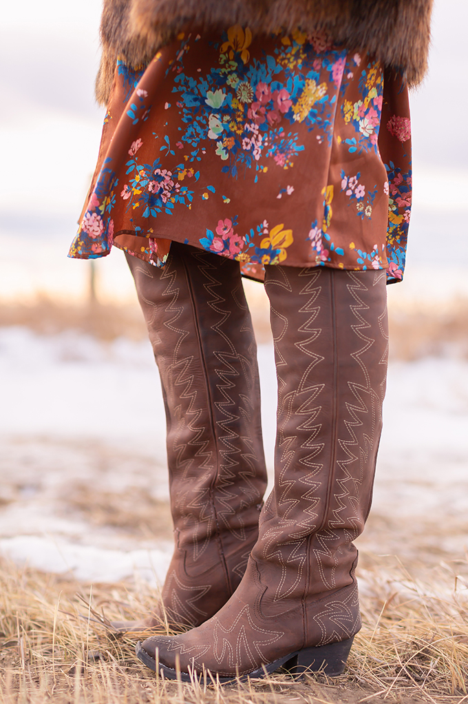 Pre Spring 2019 Trend Guide Bohemian Rhapsody: How to Style Midi Dresses for Transitional Spring Weather | Brown Floral Midi Dress styled with OTK Western Boots | Pantone Spring Summer 2019 Fashion Ideas | Calgary, Alberta, Canada Fashion & Lifestyle Blogger // JustineCelina.com