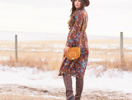 Pre Spring 2019 Trend Guide Bohemian Rhapsody: How to Style Midi Dresses for Transitional Spring Weather | Brunette Girl Standing in a Country Field at Sunrise Wearing a Brown Floral Dress, Brown Wide Brim Hat and a Mustard Cross Body Bag | Bohemian Winter Style Ideas | Pantone Spring Summer 2019 Fashion Ideas | Calgary, Alberta, Canada Fashion & Lifestyle Blogger // JustineCelina.com