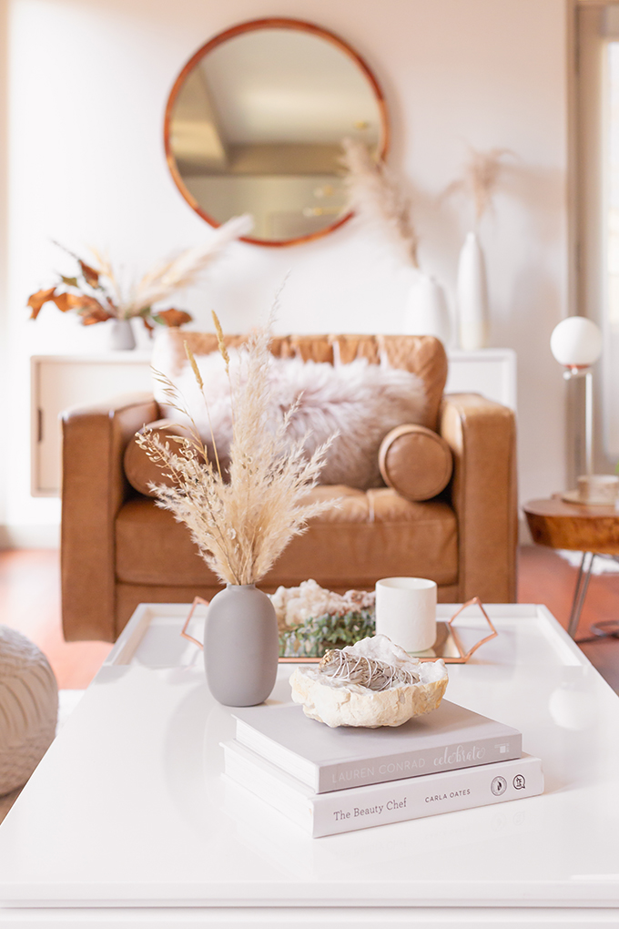 All About Pampas Grass | Pampas Grass Decor | A Bohemian, Mid-Century Modern Living Room featuring Pampas Grass Dried Decor | Pampas Grass Care and Conditioning | How to Stop Pampas Grass from Shedding | Pampas Grass Decor 2019 | Where to Buy Pampas Grass in Canada | Where to Buy Pampas Grass in Calgary | Dried Pampas Grass Arrangement Ideas | Bohemian, Mid Century Modern Decor | Calgary Lifestyle Blogger // JustineCelina.com